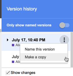 3 dots in version history to make a copy