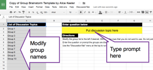 Google Sheets collaborative brainstorm