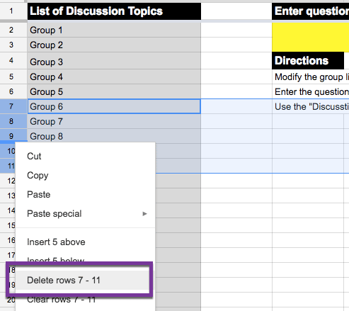 Google sheets delete rows by right clicking