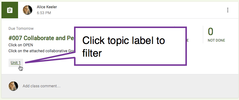 click on topic label