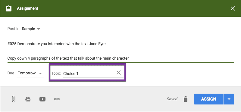 Choice 1 for a topic in Google Classroom