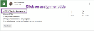 Click on assignment title to view student responses