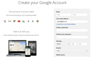 create a google account no gmail