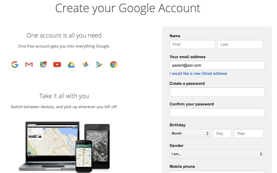 create a google account no gmail Google Classroom Google Account