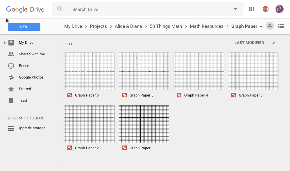 google drive folder of graph paper teacher tech