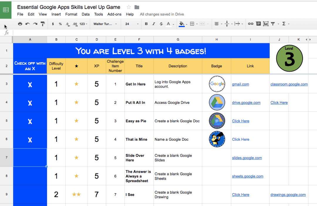 GAFE level up game