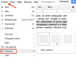 use the format menu to make columns in google docs