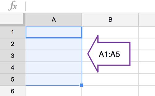 A1:A5 range