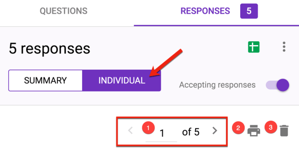 individual tab in Google Forms