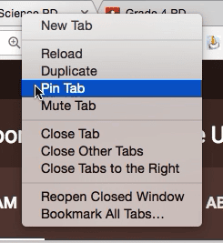 pin tab google chrome