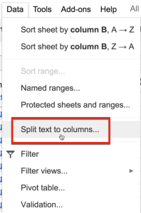 split text to columns data menu