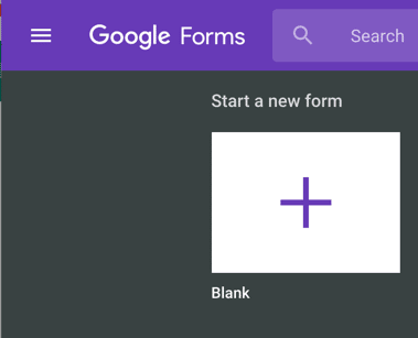 start a new form in Google Forms