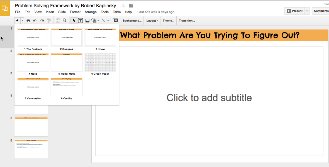 google slides problem solving framework