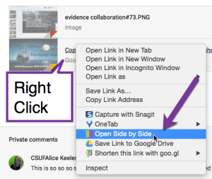 open side by side by right clicking on the document