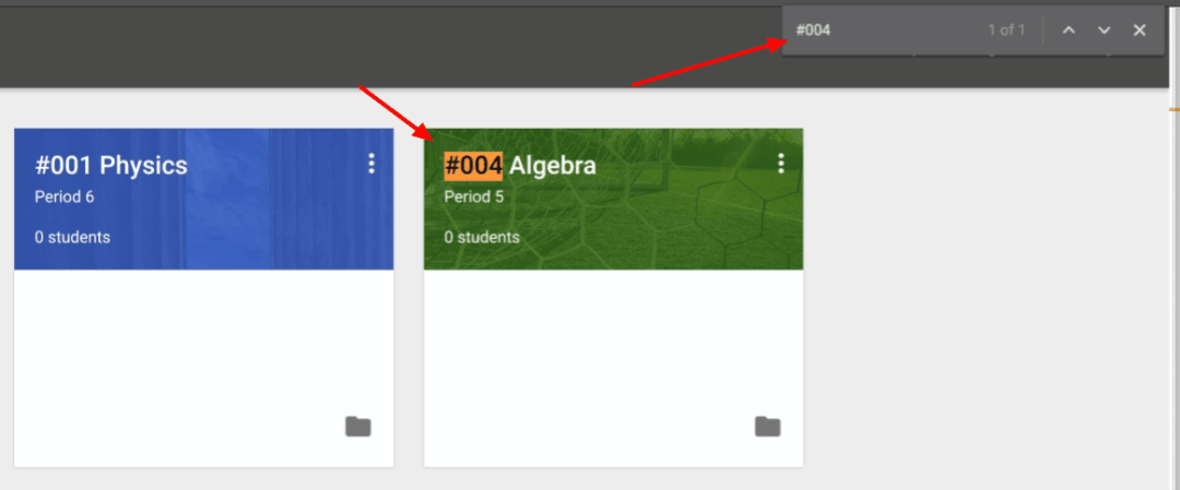 Control F find a Google Classroom class