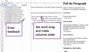 enter feedback in column c