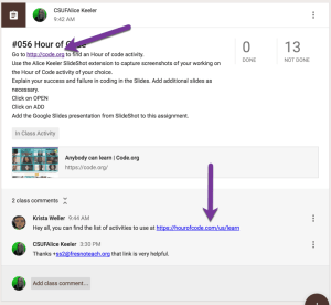 put live links into description or class comments of google classroom