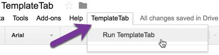 run TemplateTab