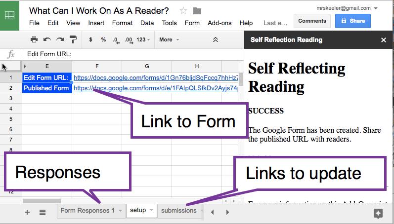 spreadsheet of responses
