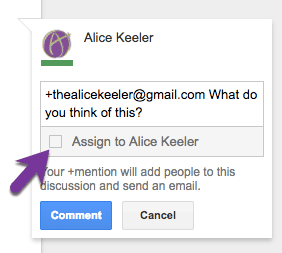 assign task in a comment using a plus mention