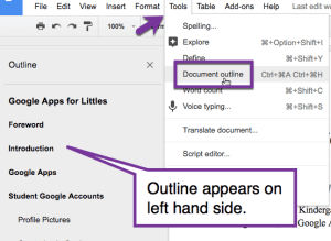 outline headings in the left hand side of a google doc