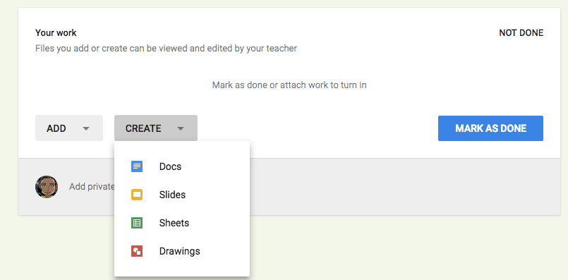 students click add or create in google classroom