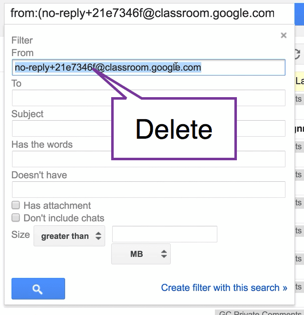 delete the from email