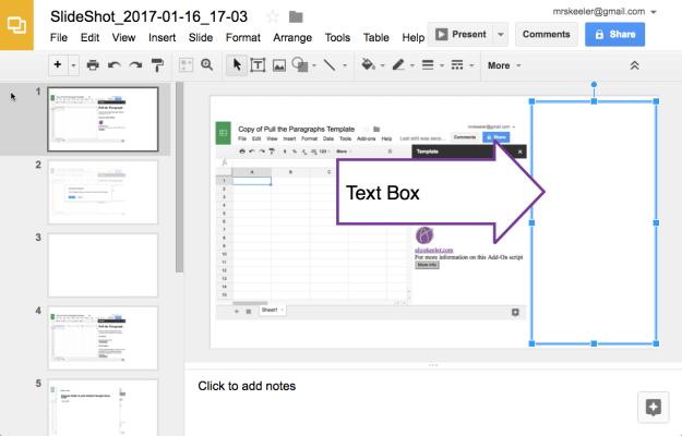 Text box on SlideShot