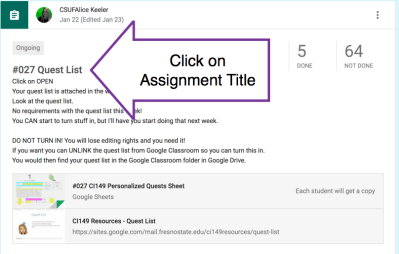 Click on assignment title