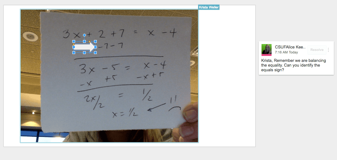 sample of feedback on slides
