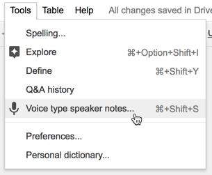 voice type speaker notes