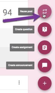 reuse post in Google Classroom