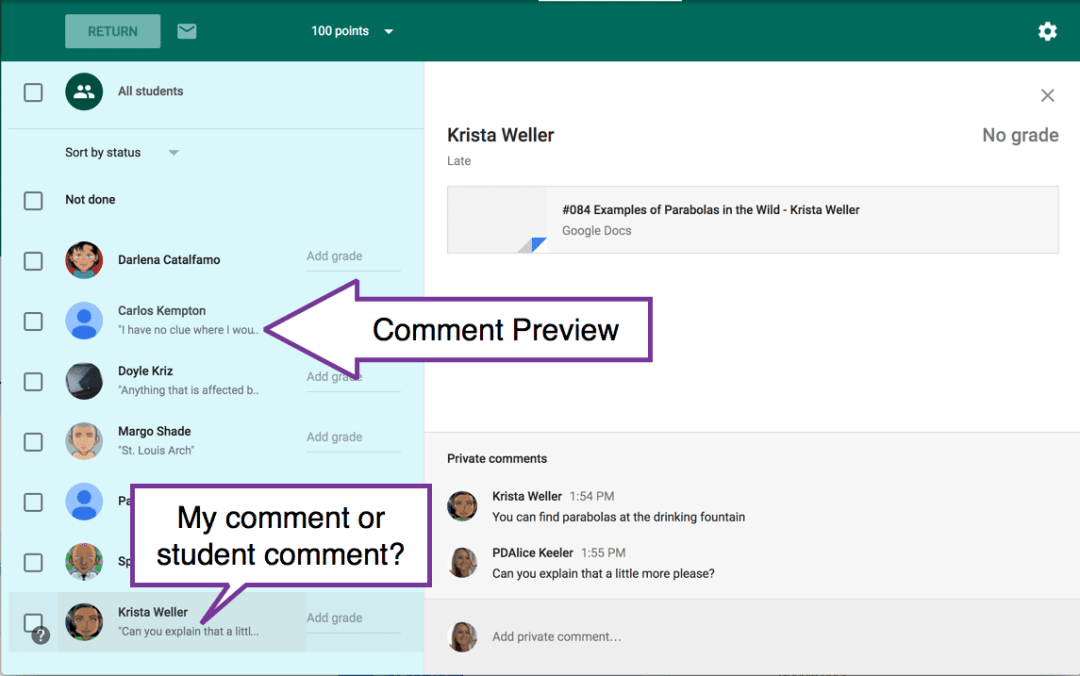 comment previews in Google Classroom