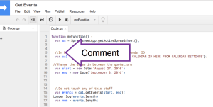 Insert Comment into Google Apps Script