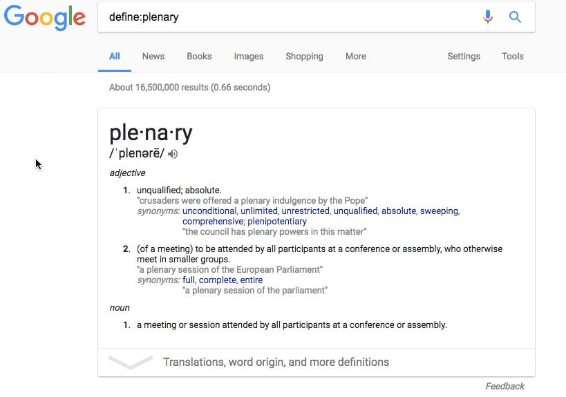 Define Plenary in Google search