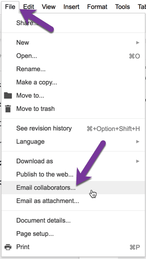 use the file menu and choose Email collaborators