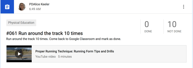Run around the track 10 times in Google Classroom