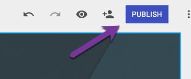 purple publish button