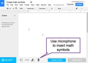 voice type math symbols toolbar