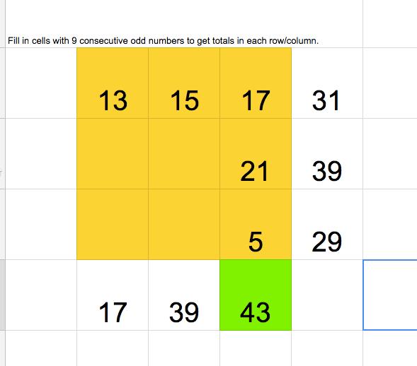 Consecutive odd integers puzzle
