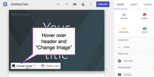 Change Image in header area of new google sites