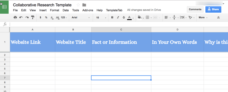 Sample Collaborative Research Template