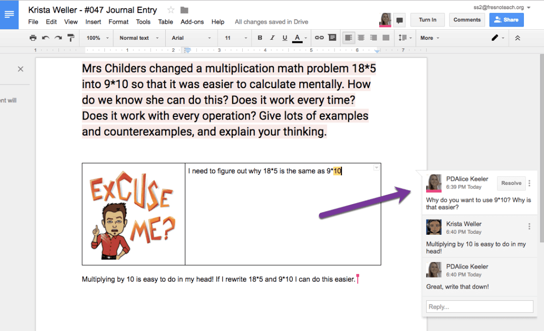 Google Docs Math Journal