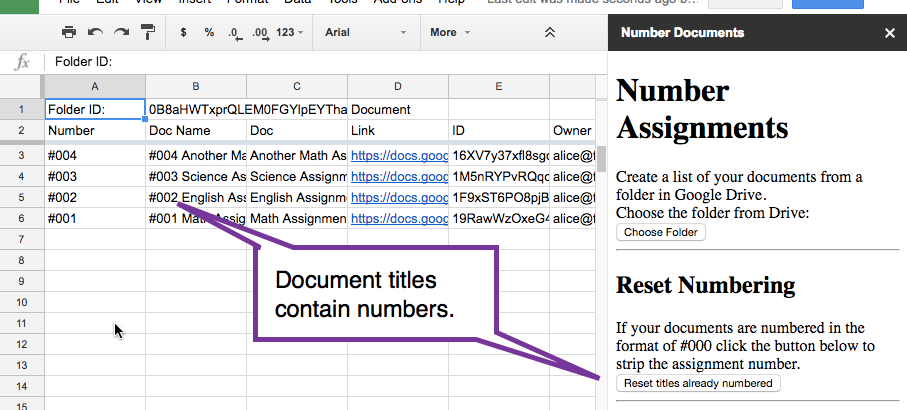 Rename the titles of the documents