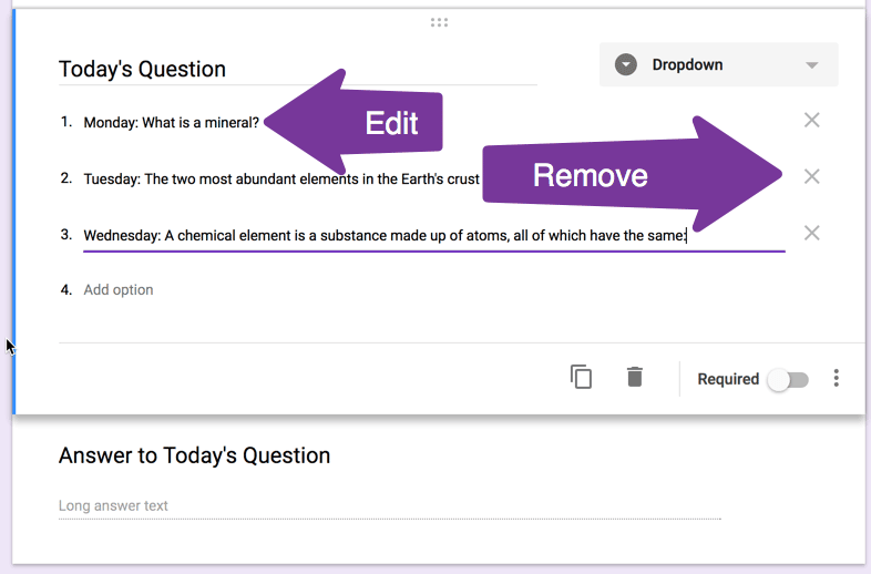 Remove or edit the options