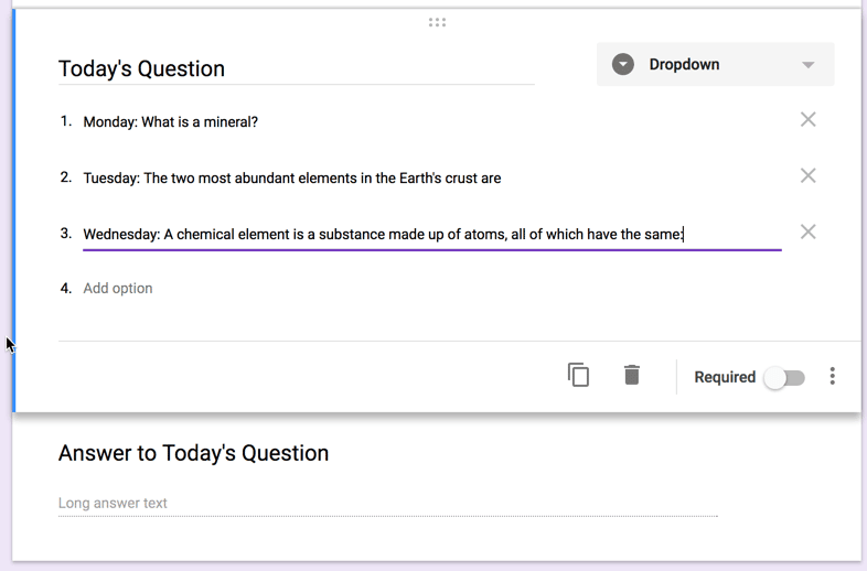 List multiple questions in the question