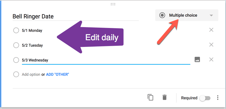 Multiple Choice Bell Ringer Date