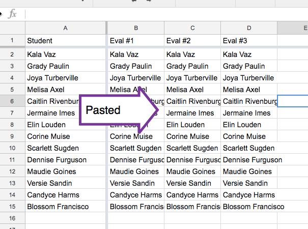 Paste Range of student names