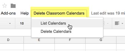 Delete Classroom Calendars