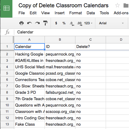 Make a list of Google Classroom calendars